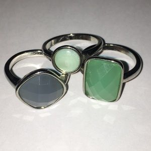 Jewelry - 3 Blue and green stacking rings